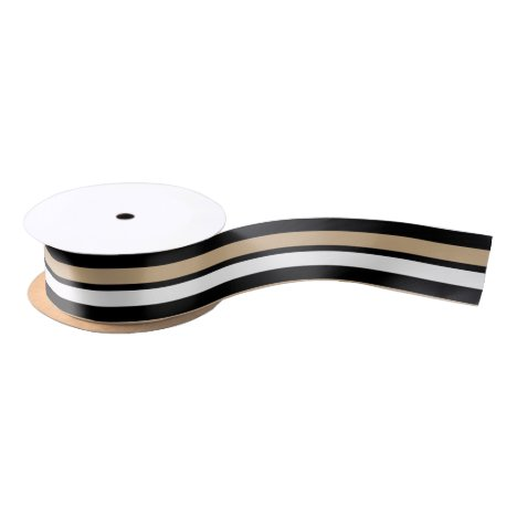 Black Gold and White Striped Satin Ribbon