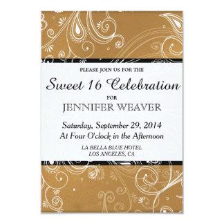 Black, Gold, and White Swirly Design 3.5x5 Paper Invitation Card