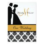 Black, Gold, and White Wedding Couple Invitation