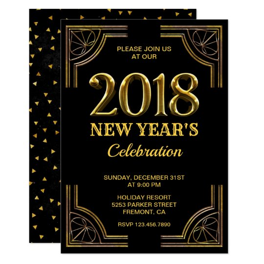 black gold art deco 2018 new years eve party invitation
