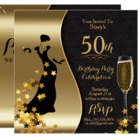 Gold and black 50th birthday invitations announcements zazzle black gold art deco 50th birthday invitation filmwisefo
