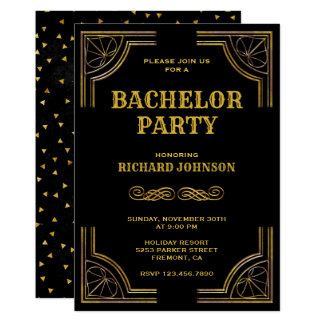 Black Gold Art Deco Bachelor Party Invitation