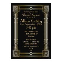 Black Gold Art Deco bridal shower Invitation