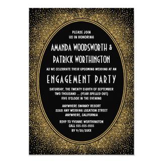 Black & Gold Art Deco Engagement Party Invitations
