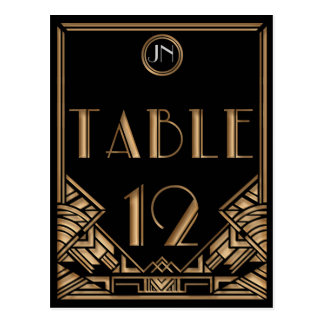 Black Gold Art Deco Gatsby Style Table Number 12 Post Cards