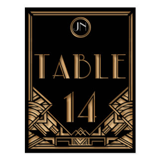 Black Gold Art Deco Gatsby Style Table Number 14 Postcard