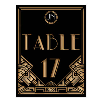 Black Gold Art Deco Gatsby Style Table Number 17 Postcard