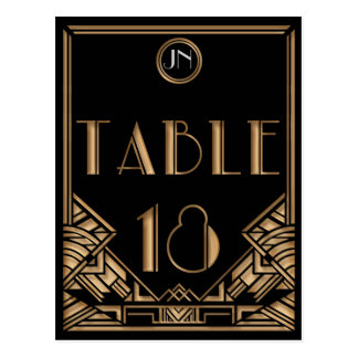 Black Gold Art Deco Gatsby Style Table Number 18 Post Cards