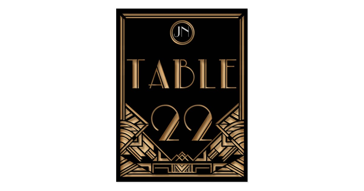 Black Gold Art Deco Gatsby Style Table Number 22 Postcard ...