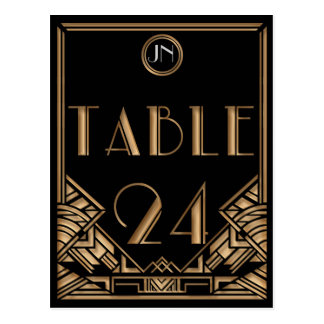 Black Gold Art Deco Gatsby Style Table Number 24 Postcard