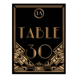 Black Gold Art Deco Gatsby Style Table Number 30 Postcard