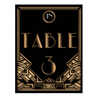 Black Gold Art Deco Gatsby Style Table Number 3 Post Card