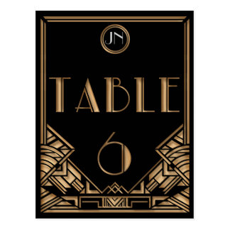 Black Gold Art Deco Gatsby Style Table Number 6 Postcards