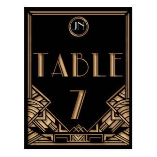 Black Gold Art Deco Gatsby Style Table Number 7 Post Cards