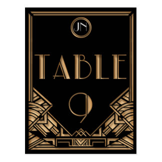Black Gold Art Deco Gatsby Style Table Number 9 Postcard