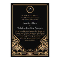 Black Gold Art Deco Gatsby Style Wedding Invites