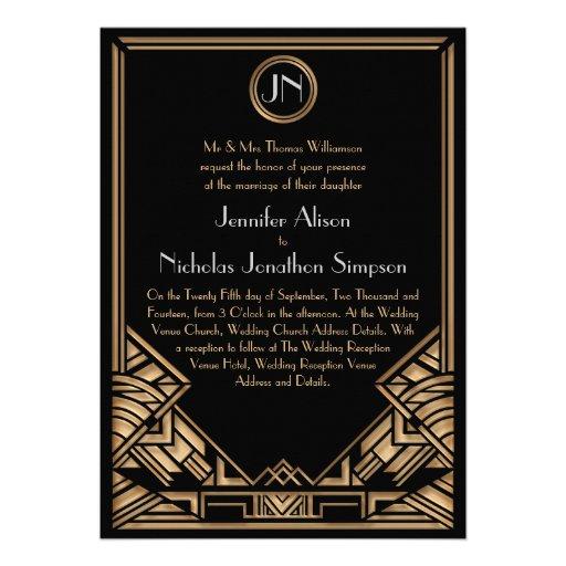 Black Gold Art Deco Gatsby Style Wedding Invites
