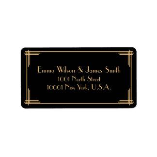 Black Gold Art Deco Great Gatsby Address Labels