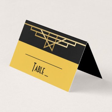 Wedding Themed Black & Gold Art Deco Great Gatsby Wedding Party Place Card