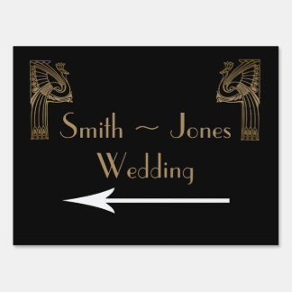 Black Gold Art Deco Peacock Wedding Direction Sign Sign