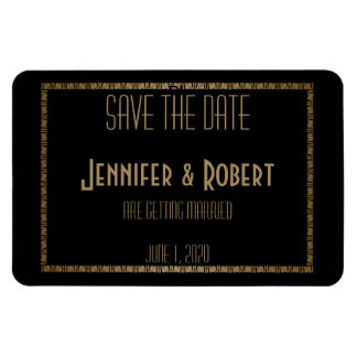 Black Gold Art Deco Peacock Wedding Save the Date Magnet