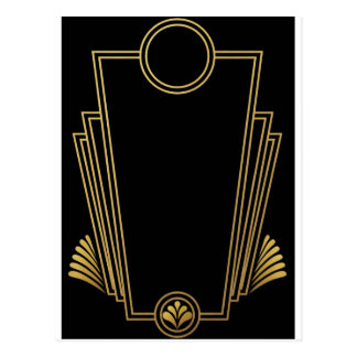 Black Gold Art Deco Post Card