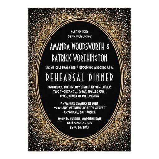 Black & Gold Art Deco Rehearsal Dinner Invitations