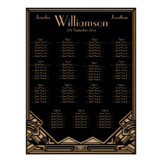 Black Gold Art Deco Style Wedding Seating Chart Posters