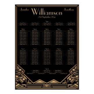 Black Gold Art Deco Style Wedding Seating Chart Print