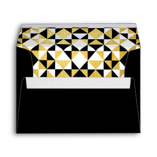 Black Gold Art Deco Triangles Wedding Lined Envelope