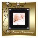 Black Gold Baby Boy Girl Photo Christening Card
