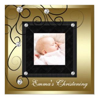 "Black Gold Baby Boy Girl Photo Christening 5.25"" Square Invitation Card"