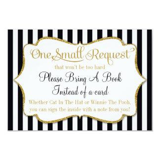 Black Gold Baby Shower Book Card Bring A Book Boy