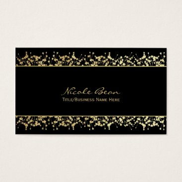 Professional Business Black & Gold Babys Breath Floral Business Card