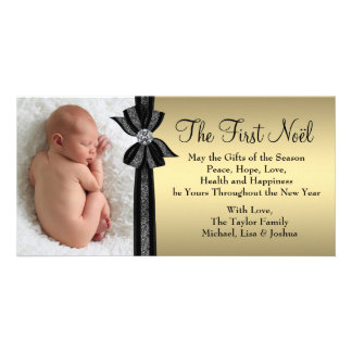 Black Gold Baby's First Christmas Photo Card