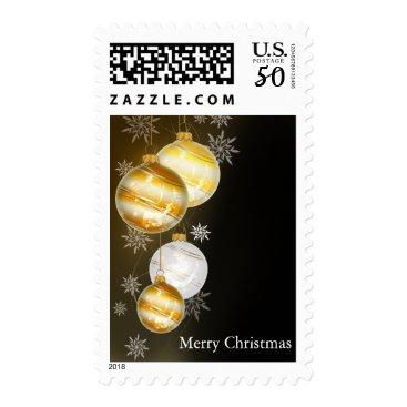 Christmas Themed Black Gold Ball Christmas Ornament Snowflake Decor Postage