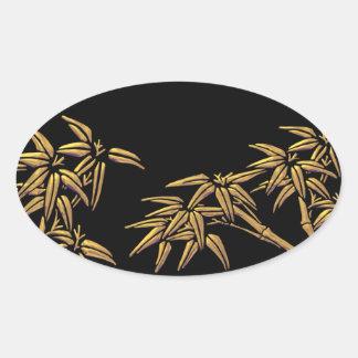 Black Gold Bamboo Asian Envelope Seal Sticker