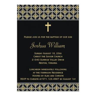 Black Gold Baptism Christening Invitation