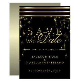 Black & Gold Bar and Starlights - Save the Date Card