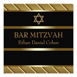 Black Gold Bar Mitzvah Invitations