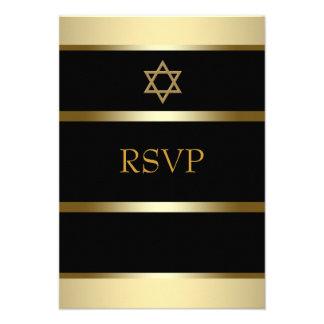 Black Gold Bar Mitzvah RSVP Announcements