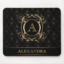 Black & Gold Baroque Frame Design-Monogram Mouse Pad