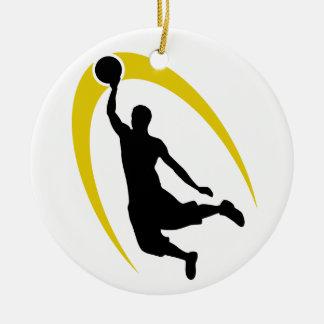 Black Gold Basketball Logo Personalized Ceramic Ornament