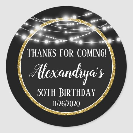 Black Gold Birthday Thanks For Coming Favor Tags