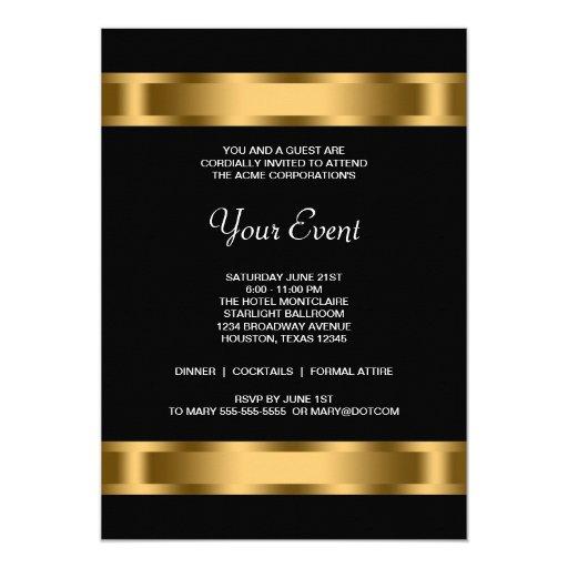 Gold black corporate party event 5x7 paper invitation card zazzle