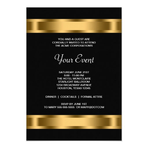 Black Gold Black Corporate Party Event Card | Zazzle