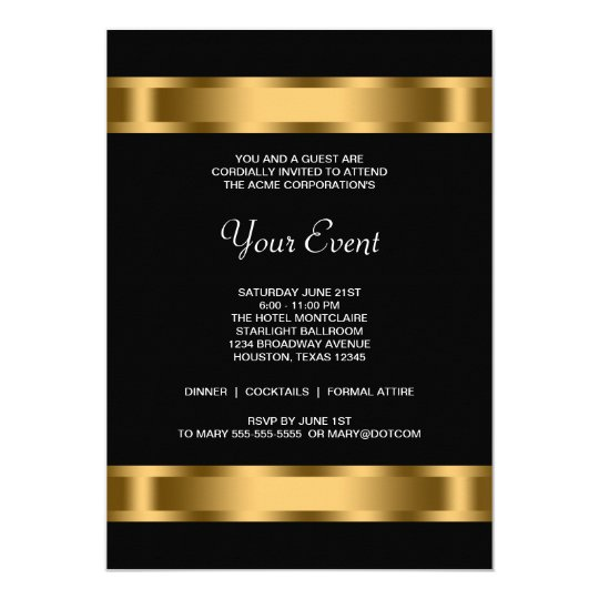 Black Gold Black Corporate Party Event Card – Corporate Invitation Card