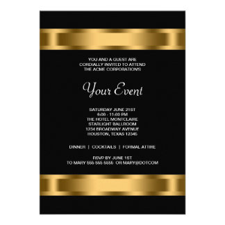 Black Gold Black Corporate Party Event Personalized Invitations