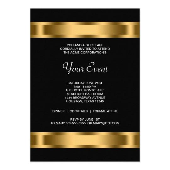 Black Gold Black Corporate Party Event Invitation Zazzle com
