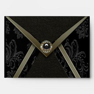 Black Gold Black Damask Invitation Envelope